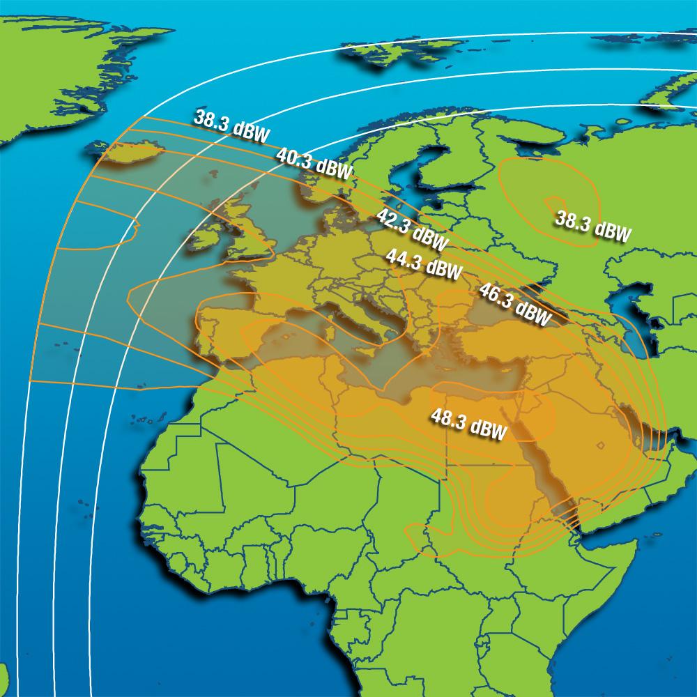 Coverage maps Intelsat 10 (IS-10) - 47 5 East, satellite