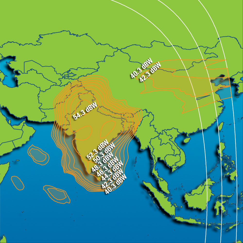 Coverage maps Intelsat 12 (IS-12) - 45 0 East, satellite