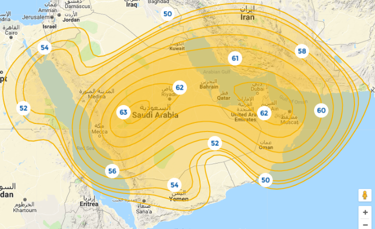 Coverage maps Satellite Badr-4/5/6 - 26 0 East, Coverage